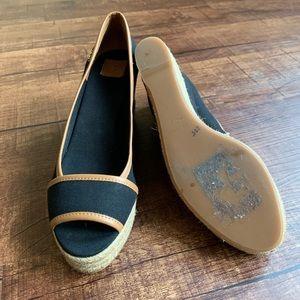 Tory Burch Shoes - Tory Burch black canvas brown trim 10.5M wedges